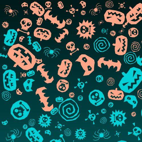 Halloween, simboliai, oranžinė, mėlynas, fonas, pakavimas, popierius, spiralė, kaukolė, moliūgas, voras, kryžminiai kaulai, ženklai, Helovyno simboliai