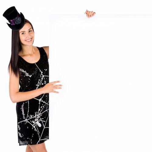 tuščia & nbsp, lenta, copyspace, kostiumas, Darina & nbsp, copakova, Moteris, Halloween, šventė, izoliuotas, pranešimas, vakarėlis, žmonės, nurodant, moteris, jaunas, Halloween woman and copyspace