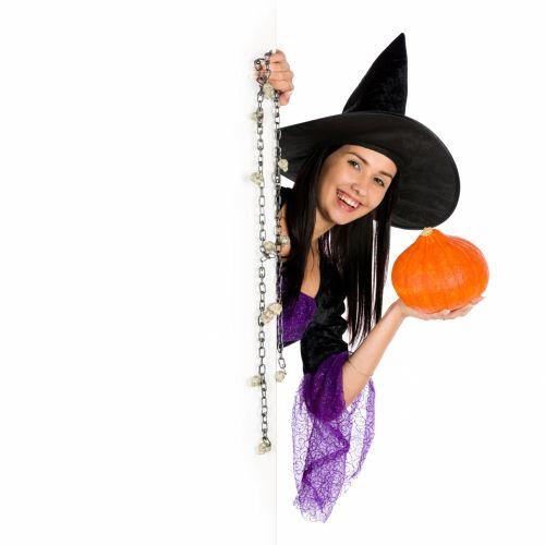 tuščia & nbsp, lenta, copyspace, kostiumas, Darina & nbsp, copakova, Moteris, Halloween, šventė, izoliuotas, pranešimas, vakarėlis, žmonės, ragana, moteris, jaunas, Halloween woman and copyspace