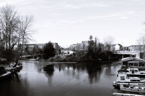 hamburgas, Hanzos miestas Hamburgas, hamburgensien, juoda ir balta fotografija, rudas tiltas, rothenburgsort, be honoraro mokesčio