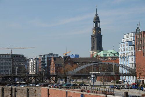 Hamburgas, Michel, Kranai, St Michaelis, Bažnyčia, Šiaurinė Vokietija, Vokietija