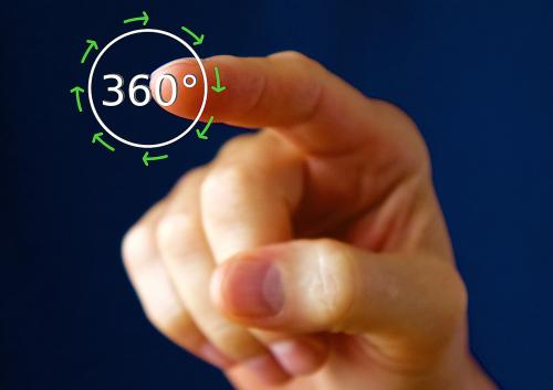 ranka,pirštas,mygtukas,jungiklis,360 °,užbaigti,visi aplink