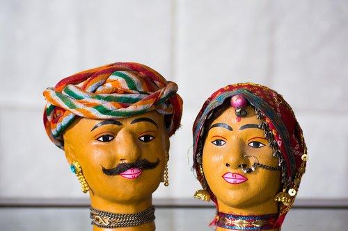 amatų, lėlės, Indija, Rajasthan, Džaipuras, tradicinis, kostiumas, tradicija, spalvinga, rankų darbo, kultūra, amatų, pora