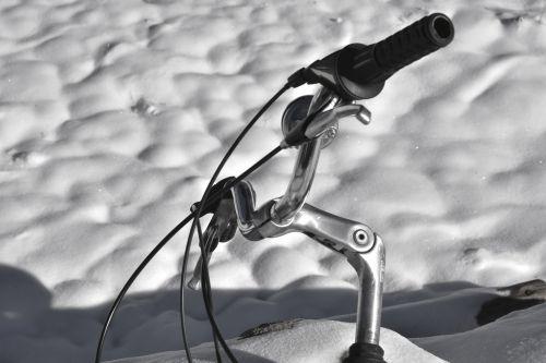 sniegas, dviratis, vairai, rankena, sidabras, vairai ant sniego