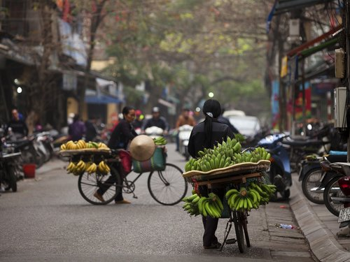 Hanojus gatvės maisto, bananų dviratis, vaisių dviratis Hanojus