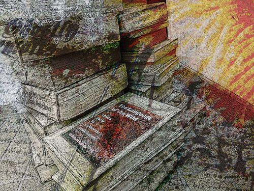 Halloween, knyga, knygos, senas, amžius, senovės, vintage, victorian, akmuo, užmušti akmenimis, raidės, apsėstas, krūva, rašymas, vaiduoklis, vaiduoklis, meno, sudėtinis, dažytos, tapybos, baugus, Haunted knygos