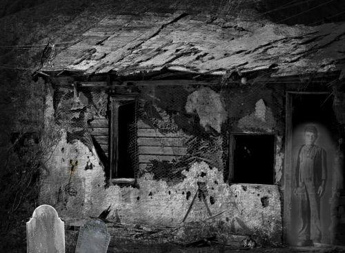 Halloween, kapinės, vaiduoklis, vaiduoklis, baugus, creepy, juoda & nbsp, balta, Grunge, grungy, Haunted kasybos shack
