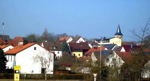 hausen,kaimas,bažnyčia,vaizdas