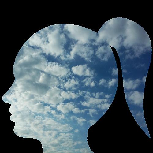 galva,moteris,asmuo,žmonės,veidas,profilis,vienatvė,laimė,mintis,dangus,debesys,nerimas,painiavos,psichinė sumišimas,psichologija,galvoti,emocija,mintis,protas
