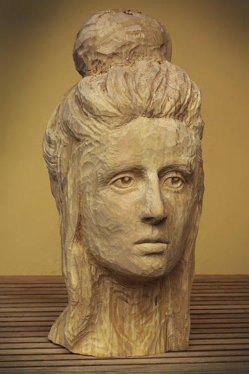 galva, moteris, skulptūra, mediena, veidas, menas, skulptorius, drožyba, išskirti, medžio drožyba