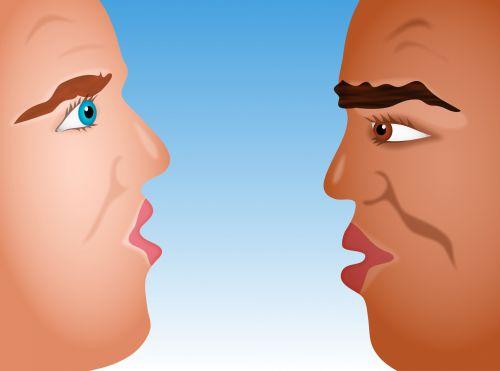 Iliustracijos, clip & nbsp, menas, iliustracija, grafika, žmonės, asmuo, vyras, Patinas, veidai, profilis, pokalbis, kalbėti, kalbėti, pokalbis, galva, galva į galvą