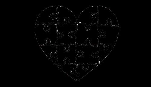 širdis,galvosūkis,portretas,emocija,prisijungti kartu,galvosūkis,atvirukas,fonas,izoliuotas