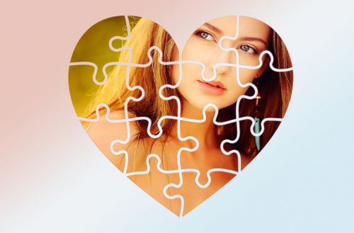 širdis,galvosūkis,portretas,emocija,prisijungti kartu,galvosūkis,atvirukas,fonas