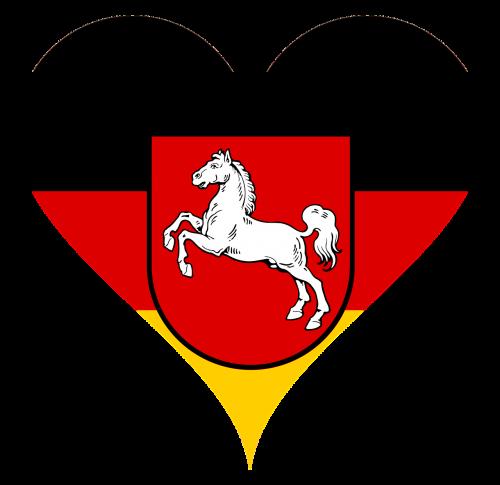 širdis,meilė,žemutinė Saksonija,regionai,arklys,herbas,vėliava,širdies formos