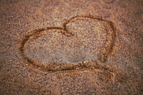 širdis,smėlis,atkreipti,papludimys,meilė,valentines