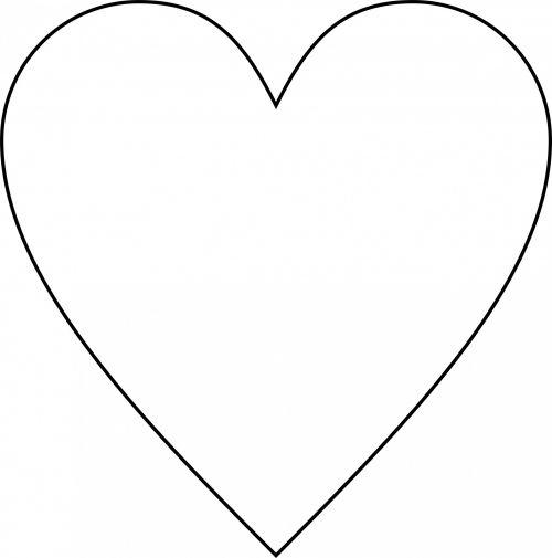 tuščia, širdis, kontūrai, simbolis, meilė, paprastas, valentine, Kalėdos, balta, fonas, izoliuotas, širdies kontūrai