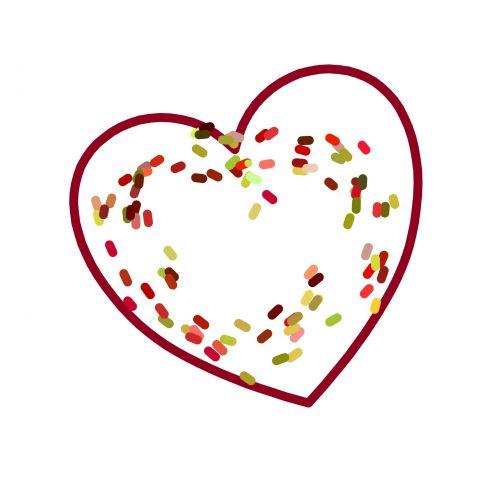 širdis, spalva, spalvinga, taškai, viduje, piešimas, balta, fonas, meilė, širdis su spalvingais taškais viduje