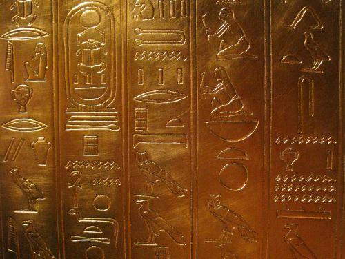 hieroglifai, išgraviruotas, šventykla, auksas, kopija, aukso hieroglifai