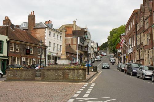 aukšta & nbsp, gatvė, greitkelis, kelias, gatvė, parduotuvės, baras, Anglija, Anglų, arundel, vakaruose, Sussex, žmonės, eismas, automobiliai, transportas, Pagrindinė gatvė, Anglija