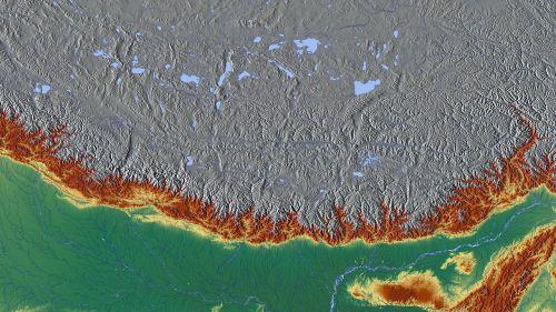 Himalajus,kalnai,Everestas,žemėlapis,reljefo žemėlapis,aukščio profilis,aukščio struktūra,spalva,kartografija,mercatoriaus projekcija,atspalvis,aukštumos žemėlapis,didelis reljefas,didelio reljefo žemėlapis,topografija,Nepalas