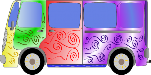 hipis,van,autobusas,60s,šešiasdešimt,60s .,spalvinga,automobilis,gabenimas,eros,hippies,nemokama vektorinė grafika