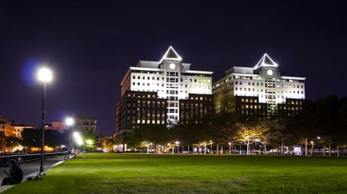 Hoboken,Naujasis Džersis,pastatai,naujas,Džersis,miestas,pastatas,amerikietis,architektūra,kranto,biuras,nj,centro,finansinis,rajonas,naktis,šiuolaikiška,bokštas,parkas