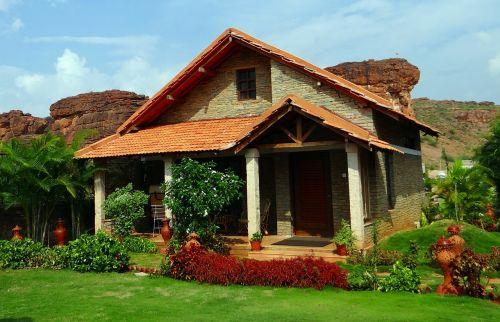 atostogų namai,poilsio namai,namelis,badami,akmenys,smiltainis,Karnataka,Indija,namas,namai