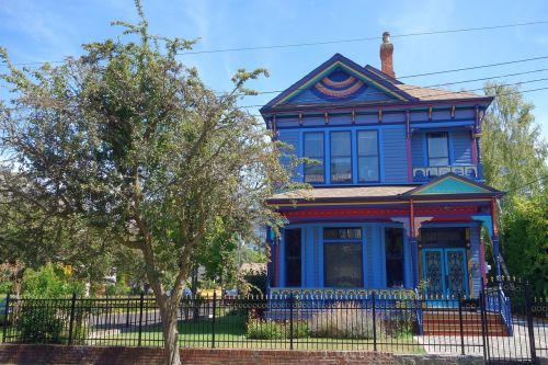 namai,mėlynas,victorian,Kanada,Viktorija,mėlynas namas,pastatas,vila,šventė,architektūra,atostogos,ryškiai mėlynas