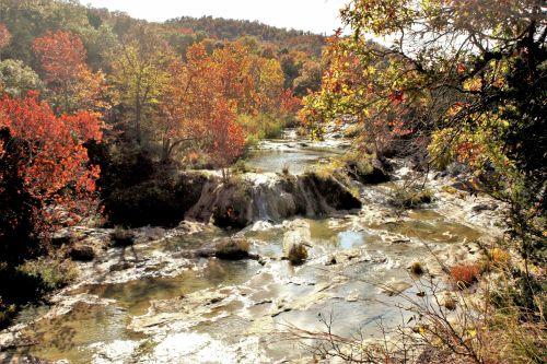 gamta, kraštovaizdis, vanduo, vanduo & nbsp, kritimas, kaskados, medus & nbsp, upelis, teka, putojantis, arbuckle & nbsp, kalnai, pietų oklahoma, medžiai, kritimas, ruduo, žalias, auksas, oranžinė, upelis, medaus upelis rudenį