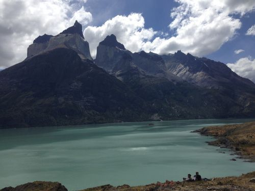 ragai,patagonia,gamta,ežeras,kalnai,debesys,kraštovaizdis,didieji kalnai,kūno ragai,Chilean patagonia