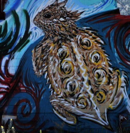 grafiti, gatvė & nbsp, menas, menas, Grunge, raguotas & nbsp, rudas, rupūžė, spalvinga, ropliai, raguotas rudos graffiti