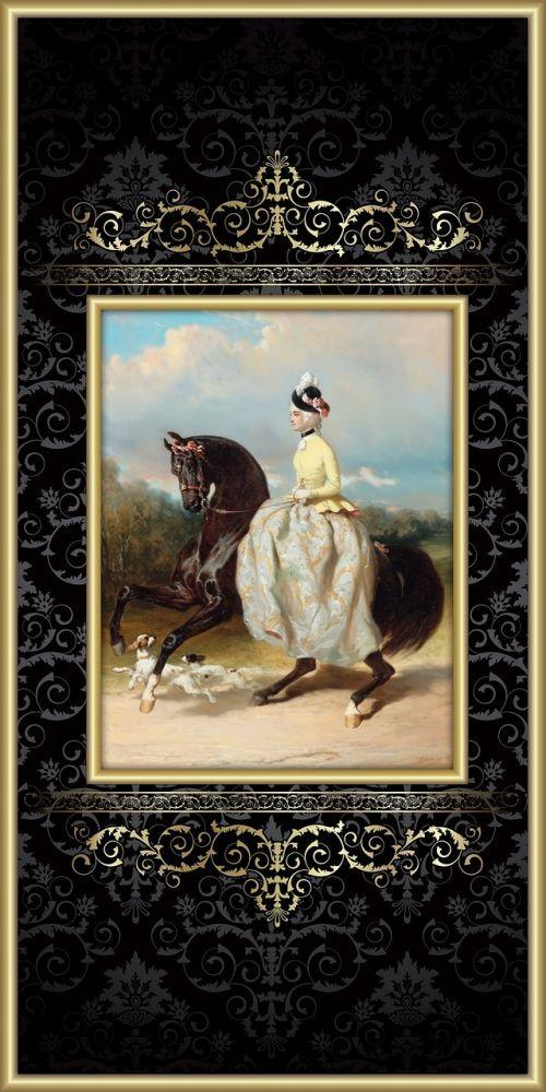 arklys,moteris,victorian,jodinėjimas,jodinėjimas,Lady,Jodinėjimas,raitelis,šuo,spanielis,elegantiškas,moteriškas,šokti,rait,sidesaddle,rėmas,paauksuotas,aštuonioliktas amžius,suknelė,skrybėlę