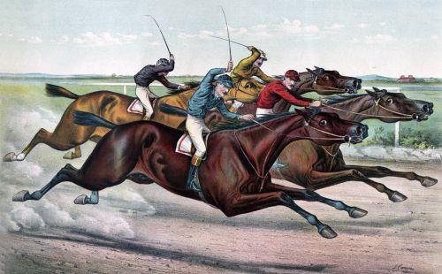 arklys, arkliai, lenktynių žirgais, lenktynių žirgais, jockey, sumuštiniai, lenktynės, kaklas & nbsp, kaklas, gražus, greitis, greitai, grynas, vintage, menas, dažymas, plakatas, Spausdinti & nbsp, kortelę, Laisvas, viešasis & nbsp, domenas, žirgų lenktynių kaklas & amp, kaklas