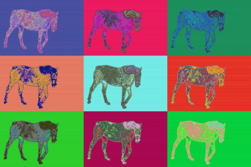 arkliai, piešimas, nustatyti, Warchole, stilius, gyvūnas, horoskopas, kinai, metai & nbsp, arklys, 2014, arkliai nustatyti