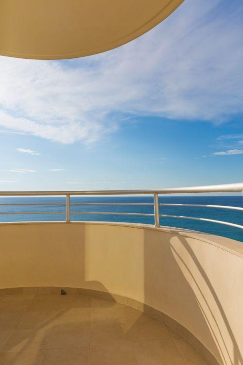 balkonas, mėlynas, viešbutis, vandenynas, jūra, dangus, vasara, terasa, atostogos, vaizdas, vanduo, viešbučio balkonas