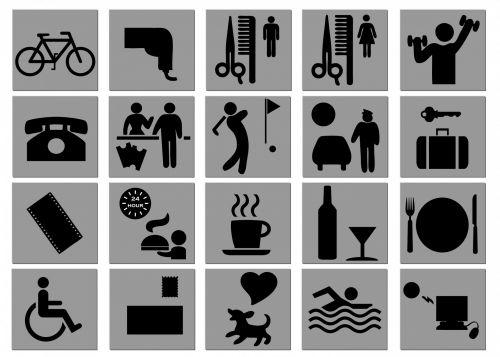 viešbutis, simboliai, neįgalus, Sportas, telefonas, maistas, automobilių stovėjimo aikštelė, kirpykla, iliustracija, viešbučio simboliai