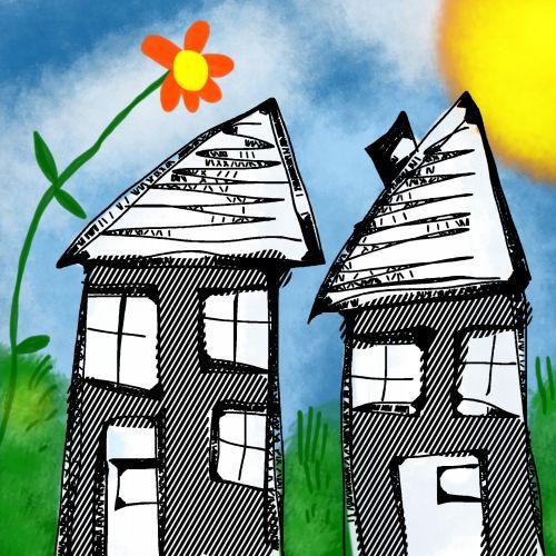Iliustracijos,  Clip & Nbsp,  Menas,  Iliustracija,  Grafika,  Namas,  Namai,  Namai,  Pastatai,  Gyvenamasis,  Nuosavybė,  Doodle,  Eskizas,  Piešimas,  Dažymas,  Namai