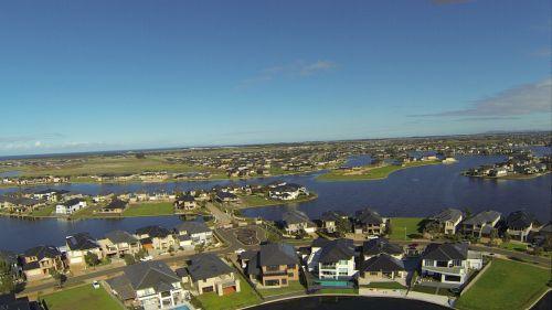 antena, ežerai, namai, vanduo, australia, Viktorija, būstas ir ežerai australija