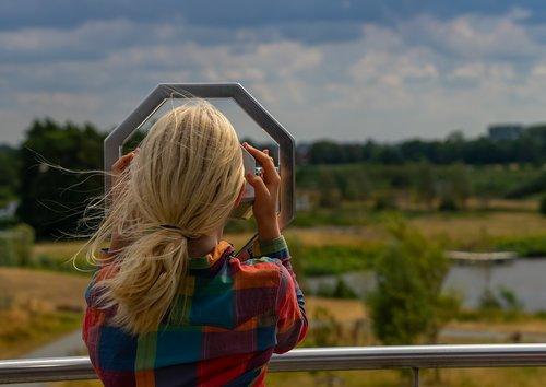 žmogus, vaikas, mergina, Šiaurės jūra, stebėjimo bokštas, Žiūronai, vasara, atrodo, kraštovaizdis, paukščių stebėjimas, kelionė, laisvalaikis, žiūrėti, žmogus