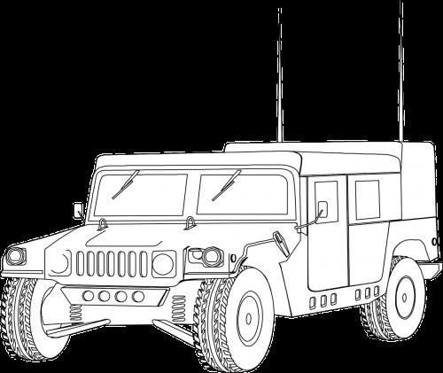 Hummeras,humvee,transporto priemonė,kariuomenė,Jeep,kontūrai,automobilis,gabenimas,nemokama vektorinė grafika
