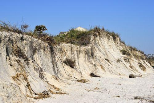 uraganas matthew,paplūdimio erozija,oras,Atlanto vandenynas,sunaikinimas,žalą,kraštovaizdis,atogrąžų,erozija,vandenynas,jūra,papludimys,dangus,gamta,natūralus,jūrų,aplinka,smėlis,audros,seagrass,potvynis,eroduojantis,erode,kopos,st augustine,florida