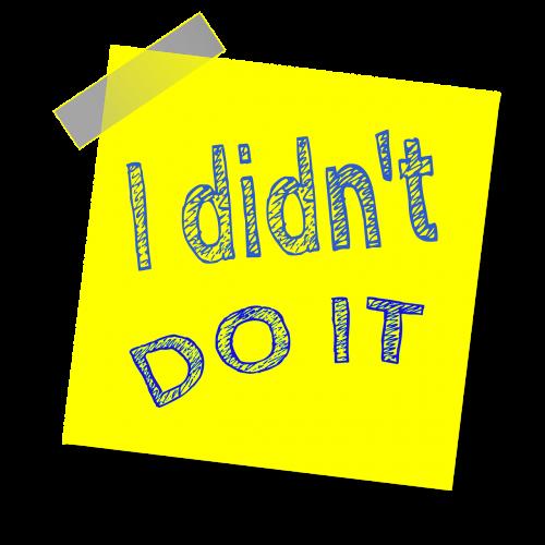 aš to nedarau,priminimas,rašyti pastabą,lipdukas,lipnus popierius,motyvacija,geltona pastaba,lipnus,įkvepiantis
