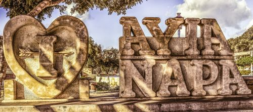 aš myliu ayia napa,skulptūra,ekskursijos,kvadratas,orientyras,turizmas,pritraukimas,ayia napa,Kipras