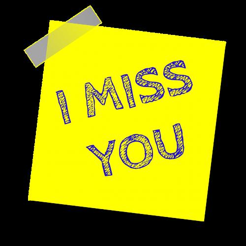 aš tavęs pasiilgau,priminimas,rašyti pastabą,lipdukas,lipnus popierius,motyvacija,geltona pastaba,lipnus,įkvepiantis