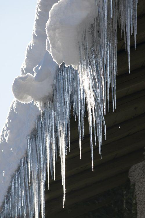 ledas,varveklių,šaltas,žiema,stogas,latakai,balta,šaltis,sniegas,sušaldyta,šaltas lietus,vanduo