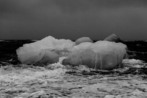 sniegas, ledas, juoda & nbsp, balta, ledkalnis, vanduo, užšaldymas, vienspalvis, jūra, tirpimas, ledkalnis