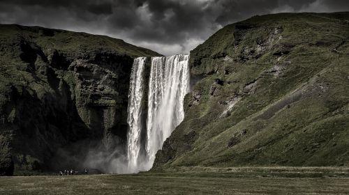 iceland,krioklys,gamta,kraštovaizdis,skogafoss,wassefall,kalnai,tvirtas,dramatiška nuotrauka
