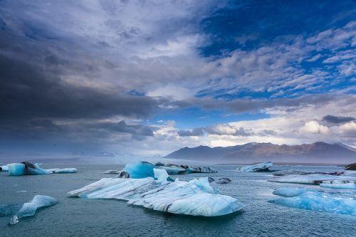 iceland,ledas,ledynai,ežeras,vanduo,dangus,debesys