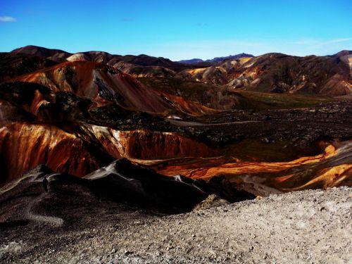 iceland, kalnai, spalvos, vaikščioti, kuprinė, iceland