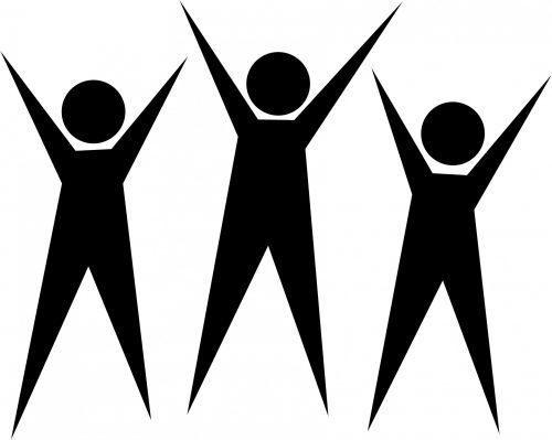 Iliustracijos, clip & nbsp, menas, iliustracija, grafika, juoda, žmonės, piktograma, grupė, trio, trys, vyrai, pergalė, komanda, komandinis darbas, švesti, sėkmė, pasiekimas, piktogramos vyrai švęsti paveikslėlį